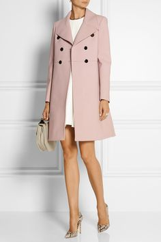 White dress, nude tights & heels, with blush pink coat. An evening out