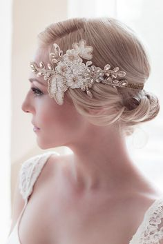 ORO Rhinestone & cristal Alencon marfil encaje por veiledbeauty, $389.00