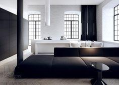 black and white open concept