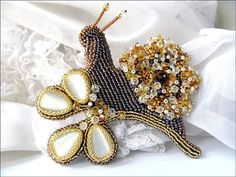 Beaded Brown Snail brooch ''Gloria with Swarovski by MadameElegant, $135.00