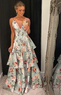 Floral Fashion, Look Fashion, Fashion Dresses, A Line Prom Dresses, Gala Dresses, Elegant Dresses, Pretty Dresses, Evening Dresses, Summer Dresses