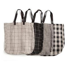 Fabric carry bags with leather handles