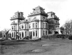 Hedsor House, Buckinghamshire. By J.T. Knowles, senior, 1865-68, for Lord Boston. The ebullient French roofs were removed, the windows altered and the interiors expensively neo-Georgianized in 1925.