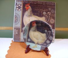 French Hen Miniature Plate for Dollhouse 112 by LeClosDesLavandes, $4.20