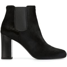 Saint Laurent Babies Ankle Boots ($602) ❤ liked on Polyvore featuring shoes, boots, ankle booties, black, chunky black booties, black bootie, chunky booties, short boots and black booties