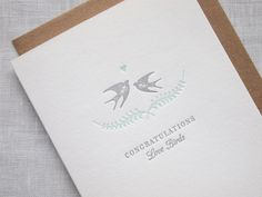 Letterpress Love Birds Congratulations Wedding by missive on Etsy