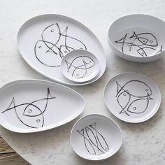 Fish Sketch Serve Bowl in Serving Bowls | Crate and Barrel