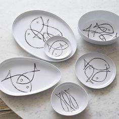 Fish Sketch Serve Bowl in Serving Bowls   Crate and Barrel