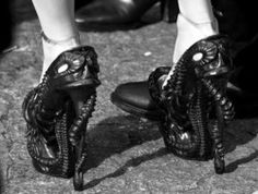 Alexander McQueen black Black and White shoes crazy octopus