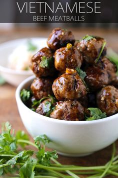 Vietnamese Beef Meatballs with a Sweet and Spicy Hoisin Dipping sauce