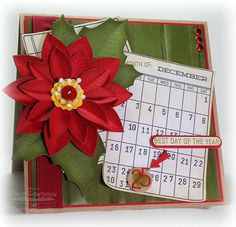 Journal It - Calendar Basics, Document It - Days and Dates, Insert It 3x4 Die-namics, Accent It Flags and Tags Die-namics, Poinsettia Die-namics - Cindy Lawrence