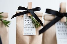 Kraft paper bag looks stylish with black ribbon and little wooden peg holding the price label by sweet and spicy