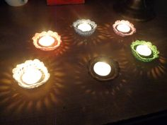 tealight candle holders throw a pretty pattern when the candles are lit