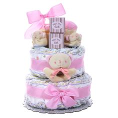 Baby Cakes 2 Tier Diaper Cake - Girl – shop.gifts.com