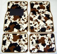 Front and Rear Brown Cow Print Carpet 4 Piece Car Truck SUV Floor Mats on special sale Car Floor Mats, Car Mats, Camo Truck, Old Ford Trucks, Pickup Trucks, Cute Car Accessories, Car Essentials, Truck Interior, Trucks And Girls
