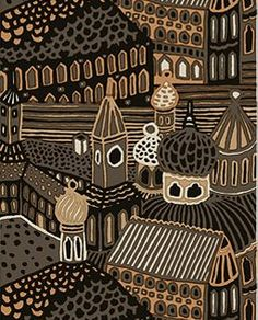 Marimekko fabric Kumiseva design by Katsuji Wakisaka. this piece hung in my childhood living room for years, and I used to stare at it for hours imagining the people who lived there <3