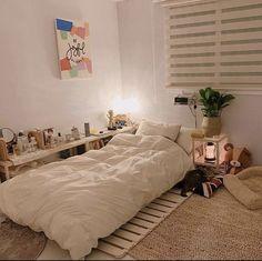 Study Room Decor, Room Ideas Bedroom, Small Room Bedroom, Home Bedroom, Bedroom Decor, Korean Bedroom Ideas, Bedrooms, Minimal Bedroom, Style Minimaliste