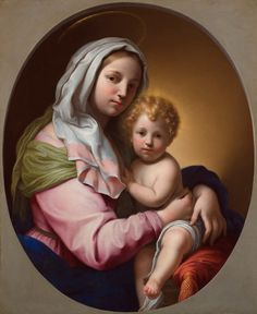 Onorio Marinari - Madonna and Child - Italian Baroque: Paintings from the Haukohl Family Collection Madonna Art, Madonna And Child, Blessed Mother Mary, Blessed Virgin Mary, Religious Paintings, Religious Art, Image Jesus, Vintage Holy Cards, Queen Of Heaven
