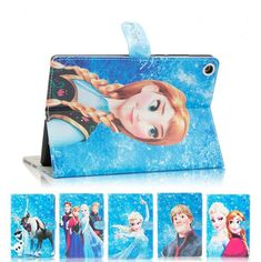 3D Kids Cute Cartoon Flip Princess Elsa Anna and Olaf PU Leather Stand Case Cover for ipad mini  1/2/3