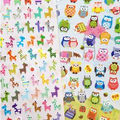 1 Sheet Owl Giraffe Print Toy sticker Cute Drawing Market Diary Transparent Scrapbooking Calendar Album Deco Sticker