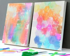 Kids-Craft-Tissue-Painted-Canvases finished canvas art