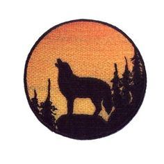 Embroidered Wolf Silhouette Iron on Patch