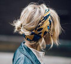 bandana // headband + bun + bangs                                                                                                                                                                                 More