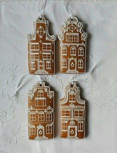 Set of 4 gingerbread Amsterdam canal houses Dutch houses Gingerbread Christmas Decor, Clay Christmas Decorations, Gingerbread House Designs, Xmas Crafts, Gingerbread Houses, Homemade Christmas, Christmas Baking, Winter Christmas, Christmas Holidays
