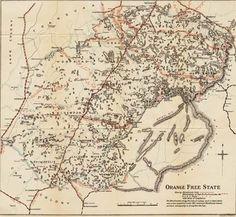 Boer War Maps - Map of the Boer Republic of Orange Free State Showing Blockhouse Lines and South African Constabulary Posts with Dates of Co. South Africa Map, West Africa, Free State, Victoria Falls, St Helena, My Land, World War I, Vintage World Maps, African