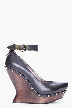 McQ Alexander McQueen Black Studded Curve Wedges for women | SSENSE