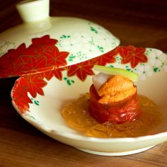 Tochigi tomatoes and scallops with lemon jelly