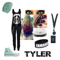"""Tyler !"" by jesseee-xp ❤ liked on Polyvore featuring Karl Lagerfeld, Urban Decay, Converse, women's clothing, women, female, woman, misses and juniors"
