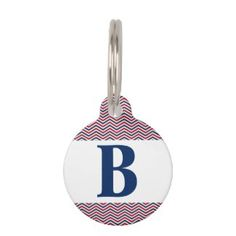 Red White and Blue Chevrons Pet Name Tag https://www.zazzle.com/z/3stte