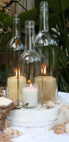 Triple Wine Bottle Candle Holder // Hurricane Lamp ❤︎ #diy #idea