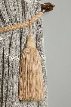 Makira Tassel Tieback by Anthropologie in Beige, Hardware Tassel Curtains, Home Curtains, Urban Outfitters, Curtain Hardware, Gland, Custom Drapes, Passementerie, Furniture Hardware, Home Living