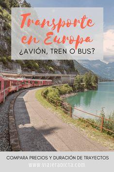 ¿Necesitas ayuda con el transporte en Europa? Revisa este cuadro comparativo para que tengas una idea de los precios y las duraciones de los trayectos entre las ciudades más visitadas de Europa. #transporte #europa #lowcost #avion #tren #bus