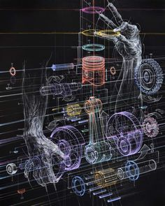 Mechanical Drawings and the Human Form Merge in Oil Paintings by Atsushi Koyama