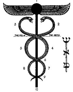 "Caduceus = Tree of Life, Aleph letter): air ; Shin letter) : fire -- ""This image is a perfect symbol for the exile and return story of the Kabbalah, symbolizing both the upward striving and the balancing of opposites. Ancient Symbols, Ancient Aliens, Le Bateleur, Aleister Crowley, Vegvisir, Spiritus, Book Of Shadows, Archetypes, Tree Of Life"