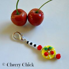 Cherry Scissor Fob, Zipper Pull, Purse Charm, Cherries, Gift for Sewers, Gift for Quilters by Cherry Chick