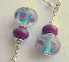 Beaded Lampwork Dangle Earrings of Aqua and Pink by mostlybeads, $24.00