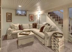 Doable Ways to DIY a Basement Ceiling Painted Wood Plank Ceiling! Would love this in our basement! Would love this in our basement! Low Ceiling Basement, Wood Plank Ceiling, Basement House, Basement Flooring, Modern Basement, Small Basement Design, Bedroom In Basement Ideas, Basement Plans, Low Ceiling Bedroom