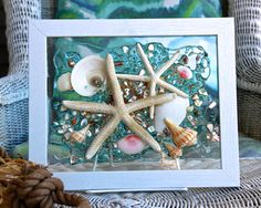 Starfish Wave Wall Hanging, Beach Art with Shells, Shell Art for Beach Decor, Seashell Arrangement Glass Art, Beach Sun Catcher Seashell Art, Seashell Crafts, Beach Crafts, Starfish, Window Art, Window Panes, Window Glass, Shell Decorations, Beach Cottage Style