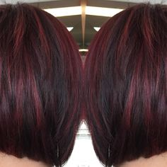 Did the beautiful Lindsay's hair again today!!!! Turned out beautiful!!!!! She is ready for fall!  Took her from black and Teal the this warm red violet tone with highlights!! ❤️