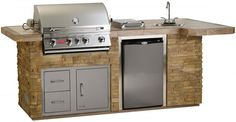 Bull BBQ BBQ Complete BBQ Island comes standard with a 30 Inch Built In Gas Grill Single Access Door with Lock and Key Sink Refrigerator and a GFCI Outlet 31014 and 31015 Closed