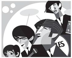 The (BEATLES) - (Caricature) by Pablo Lobato (Dunway Enterprises) http://dunway.us