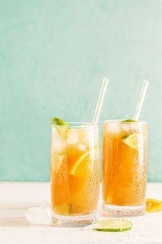 Mocktail ice tea et fruits de la passion