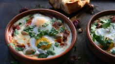This North African dish is in the same family as Israeli shakshouka or Italian uova in purgatorio, poaching eggs in a seasoned tomato sauce (and then sopping them up with some nice crusty bread). Ras al hanout spice mixture, an aromatic combination that varies shop to shop, would be the typical seasoning, but with just a few pinches of a few different spices you can create your own version. The tomato sauce can be made long in advance, allowing more time for the spices to infuse.