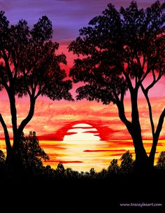 Sunset acrylic painting by Tracey Everington. Pink Sunset, Pattern Wallpaper, Art Blog, Original Paintings, Abstract Art, Art Designs, Gallery, Artist, Artwork