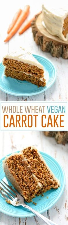 This Whole Wheat Vegan Carrot Cake is moist and flavorful, plus made with some healthier substitutions for a clean-eating treat!