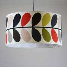 Handmade 60m Drum - Orla Kiely, 'Multi stem Tomato', white lining. Available instore and online here - https://www.cotterellandco.com/bespoke-60cm-drum-shade-multi-stem-tomato